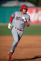 Clearwater Threshers Alec Bohm (40) runs the bases after hitting a home run during a Florida State League game against the Dunedin Blue Jays on May 11, 2019 at Jack Russell Memorial Stadium in Clearwater, Florida.  Clearwater defeated Dunedin 9-3.  (Mike Janes/Four Seam Images)