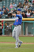 Logan Verrett (35) of the Las Vegas 51s in action against the Salt Lake Bees at Smith's Ballpark on May 8, 2014 in Salt Lake City, Utah.  (Stephen Smith/Four Seam Images)