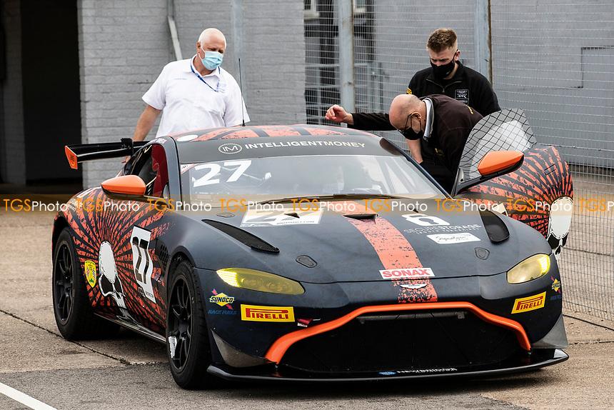 Matt Topham & Darren Turner, Aston Martin Vantage AMR GT4, Newbridge Motorsport car noise tested prior to racing during the British GT & F3 Championship on 10th July 2021