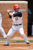 Greg Hopkins #11 of the St. John's Red Storm at bat against the VCU Rams at the Charlottesville Regional of the 2010 College World Series at Davenport Field on June 5, 2010, in Charlottesville, Virginia.  The Red Storm defeated the Rams 8-6.  Photo by Brian Westerholt / Four Seam Images