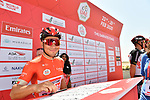 Caleb Ewan (AUS) Lotto-Soudal at sign on before Stage 3 The Emirates Stage of the UAE Tour 2020 running 184km from Al Qudra Cycle Track to Jebel Hafeet, Dubai. 25th February 2020.<br /> Picture: LaPresse/Massimo Paolone | Cyclefile<br /> <br /> All photos usage must carry mandatory copyright credit (© Cyclefile | LaPresse/Massimo Paolone)