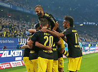 20.09.2017, Football 1. Bundesliga 2017/2018, 5.  match day, Hamburger SV - Borussia Dortmund, Volksparkstadium Hamburg. celebration Dortmund   0:3 *** Local Caption *** © pixathlon<br /> <br /> +++ NED + SUI out !!! +++<br /> Contact: +49-40-22 63 02 60 , info@pixathlon.de