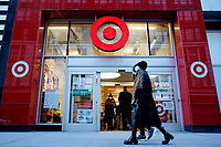 NEW YORK, NEW YORK - MARCH 02: People walk in front of Target store on March 02, 2021 in New York. Target hopes to build a growth by investing about $ 4 billion annually for the next years to accelerate the consolidation of new stores, upgrade existing ones and enhance its capacity to fulfill online orders. (Photo by Emaz/VIEWpress)