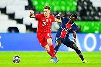 13th April 2021; Parc de Princes, Paris, France; UEFA Champions League football, quarter-final; Paris Saint Germain versus Bayern Munich;  Idrissa Gueye (PSG reaches in on Joshua Kimmich (Bayern)