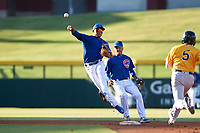 AZL Cubs 1 second baseman Oswaldo Pina (60) throws to first base in front of shortstop Pedro Martinez (11) during an Arizona League game against the AZL Athletics Gold at Sloan Park on June 20, 2019 in Mesa, Arizona. AZL Athletics Gold defeated AZL Cubs 1 21-3. (Zachary Lucy/Four Seam Images)