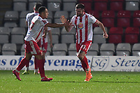Danny Newton of Stevenage FC scores the second Goal and celebrates during Stevenage vs Concord Rangers , Emirates FA Cup Football at the Lamex Stadium on 7th November 2020