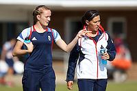 Sophie Bradley (L) and Fara Williams locate the training pitch - Team GB Women training at Cardiff University, Cardiff, Wales - 27/07/12 - MANDATORY CREDIT: Gavin Ellis/SHEKICKS/TGSPHOTO - Self billing applies where appropriate - 0845 094 6026 - contact@tgsphoto.co.uk - NO UNPAID USE.
