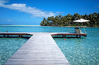 Dock on an atoll off Raiatea, French Polynesia