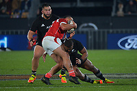 New Zealand's George Bower tackles Tonga's Leon Fukofuka during the Steinlager Series rugby match between the New Zealand All Blacks and Tonga at Mt Smart Stadium in Auckland, New Zealand on Saturday, 3 July 2021. Photo: Dave Lintott / lintottphoto.co.nz
