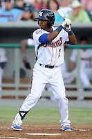 Tennessee Smokies second baseman Arismendy Alcantara #7 awaits a pitch during a game against the Chattanooga Lookouts  at Smokies Park on April 10, 2013 in Kodak, Tennessee. The Lookouts won 6-2. (Tony Farlow/Four Seam Images).
