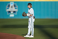 Coastal Carolina Chanticleers second baseman Dale Thomas (1) on defense against the Davidson Wildcats at Springs Brooks Stadium on March 5, 2021 in Conway, South Carolina. The Chanticleers defeated the Wildcats 15-5. (Brian Westerholt/Four Seam Images)
