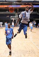 G/F Sylven Landesberg (Flushing, NY / Holy Cross) slams the ball during the NBA Top 100 Camp held Thursday June 21, 2007 at the John Paul Jones arena in Charlottesville, Va. (Photo/Andrew Shurtleff)
