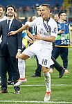 Real Madrid's Lucas Vazquez celebrates the victory in the UEFA Champions League 2015/2016 Final match.May 28,2016. (ALTERPHOTOS/Acero)