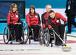 Sochi, RUSSIA - Mar 7 2014 -  Sonja Gaudet, Ina Forrest, Dennis Thiessen and Mark Ideson of Canada's Wheelchair Curling Team trains before the Sochi 2014 Paralympic Winter Games in Sochi, Russia.  (Photo: Matthew Murnaghan/Canadian Paralympic Committee)