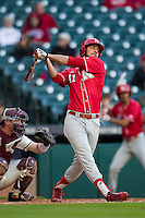 Nebraska Cornhuskers outfielder Austin Darby (41) follows through on his swing during Houston College Classic against the Texas A&M Aggies on March 6, 2015 at Minute Maid Park in Houston, Texas. Texas A&M defeated Nebraska 2-1. (Andrew Woolley/Four Seam Images)