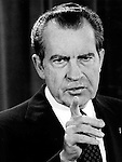37th President of the United States Richard M. Nixon sweat on lip pointing during speech, Richard Nixon was born in Yorba Linda California and attended Whittier College and Duke University law school, US Navy House of Representatives and United States Senate, Vice President under Dwight D. Eisenhower, Impeachment for his role in Watergate scandal,