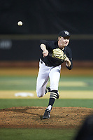 Wake Forest Demon Deacons relief pitcher William Fleming (38) delivers a pitch to the plate against the Virginia Cavaliers at David F. Couch Ballpark on May 18, 2018 in  Winston-Salem, North Carolina.  The Cavaliers defeated the Demon Deacons 15-3.  (Brian Westerholt/Four Seam Images)