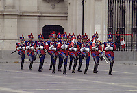 Peru, Lima.  Changing of the Guard at the Presidential Palace.
