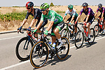 Green Jersey Fabio Jakobsen (NED) Deceuninck-Quick Step chats with Dylan Van Baarle (NED) Ineos Grenadiers during Stage 5 of La Vuelta d'Espana 2021, running 184.4km from Tarancón to Albacete, Spain. 18th August 2021.    <br /> Picture: Luis Angel Gomez/Photogomezsport   Cyclefile<br /> <br /> All photos usage must carry mandatory copyright credit (© Cyclefile   Luis Angel Gomez/Photogomezsport)