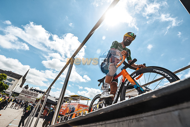 Italian Champion Sonny Colbrelli (ITA) Bahrain Victorious at sign on before the start of Stage 4 of the 2021 Tour de France, running 150.4km from Redon to Fougeres, France. 29th June 2021.  <br /> Picture: A.S.O./Charly Lopez   Cyclefile<br /> <br /> All photos usage must carry mandatory copyright credit (© Cyclefile   A.S.O./Charly Lopez)