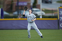 Campbell Camels right fielder Grant Harris (1) settles under a fly ball during the game against the High Point Panthers at Williard Stadium on March 16, 2019 in  Winston-Salem, North Carolina. The Camels defeated the Panthers 13-8. (Brian Westerholt/Four Seam Images)