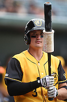 Jacksonville Suns  third baseman Alex Burg (3) on deck during a game against the Pensacola Blue Wahoos on April 20, 2014 at Bragan Field in Jacksonville, Florida.  Jacksonville defeated Pensacola 5-4.  (Mike Janes/Four Seam Images)