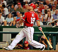 9 July 2011: Washington Nationals outfielder Laynce Nix in action against the Colorado Rockies at Nationals Park in Washington, District of Columbia. The Nationals were edged out by the Rockies 2-1, dropping the second game of their 3-game series. Mandatory Credit: Ed Wolfstein Photo