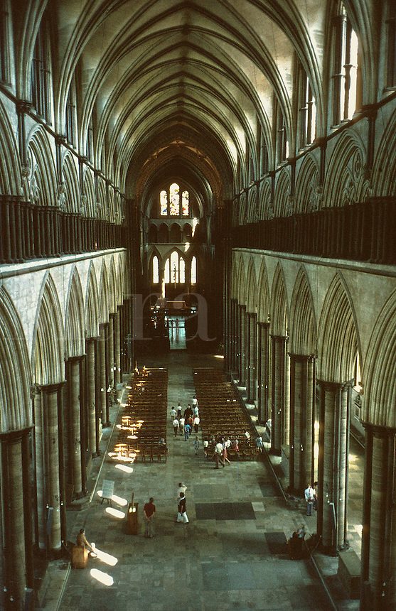Elevated view of the interior nave of Salisbury Cathedral looking toward the altar, churches, religions, church, Christianity, architecture. Salisbury England United Kingdom Great Britain.