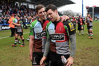 20130309 Copyright onEdition 2013©.Free for editorial use image, please credit: onEdition..(L-R) Tom Williams and Karl Dickson of Harlequins show emotion after winning the LV= Cup semi final match between Harlequins and Bath Rugby at The Twickenham Stoop on Saturday 9th March 2013 (Photo by Rob Munro)..For press contacts contact: Sam Feasey at brandRapport on M: +44 (0)7717 757114 E: SFeasey@brand-rapport.com..If you require a higher resolution image or you have any other onEdition photographic enquiries, please contact onEdition on 0845 900 2 900 or email info@onEdition.com.This image is copyright onEdition 2013©..This image has been supplied by onEdition and must be credited onEdition. The author is asserting his full Moral rights in relation to the publication of this image. Rights for onward transmission of any image or file is not granted or implied. Changing or deleting Copyright information is illegal as specified in the Copyright, Design and Patents Act 1988. If you are in any way unsure of your right to publish this image please contact onEdition on 0845 900 2 900 or email info@onEdition.com