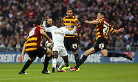 Pictured: (L-R) Carl McHugh, Nathan Dyer, Nathan Doyle, Rory McArdle. Sunday 24 February 2013<br /> Re: Capital One Cup football final, Swansea v Bradford at the Wembley Stadium in London.