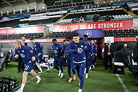 SWANSEA, WALES - NOVEMBER 12: United States national team warming up before a game between Wales and USMNT at Liberty Stadium on November 12, 2020 in Swansea, Wales.