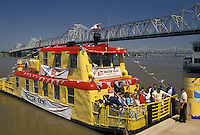 AJ4182, Louisville, riverfront, Ohio River, Kentucky, Yellow water taxi carries passengers across the Ohio River in downtown Louisville in the state of Kentucky. G.R. Memorial Bridge in the background.
