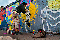 A Colombian street artist named Stinkfish sprays graffiti on the wall in La Candelaria, Bogota, 10 July 2010.