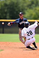GCL Red Sox shortstop Javier Guerra (12) attempts to turn a double play as James Harris (28) slides in during a game against the GCL Rays on June 24, 2014 at Charlotte Sports Park in Port Charlotte, Florida.  GCL Red Sox defeated the GCL Rays 5-3.  (Mike Janes/Four Seam Images)