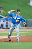Myrtle Beach Pelicans third baseman Nick Vickerson (21) makes a throw to first base against the Winston-Salem Dash at BB&T Ballpark on July 16, 2014 in Winston-Salem, North Carolina.  The Pelicans defeated the Dash 6-2.   (Brian Westerholt/Four Seam Images)