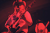 """Guitarist Ed King and bassist Leon Wilkeson, Lynyrd Skynyrd, Dome Brighton 1974.<br /> <br /> Lynyrd Skynyrd is an American rock band best known for popularising the southern hard-rock genre during the 1970s.<br /> <br /> The band rose to worldwide recognition on the basis of its driving live performances and signature tunes """"Sweet Home Alabama"""" and """"Free Bird"""". At the peak of their success, three members died in an airplane crash in 1977, putting an abrupt end to the band's most popular incarnation.<br /> <br /> Stock Photo by Paddy Bergin"""