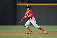 Catcher Edgar Cabral (30) of the Lakewood BlueClaws is takes a lead off second base in a game against the Columbia Fireflies on Saturday, May 6, 2017, at Spirit Communications Park in Columbia, South Carolina. Lakewood won, 1-0 with a no-hitter. (Tom Priddy/Four Seam Images)