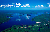 Aerial photo of Lake Michigamme, in Marquette county, in the Upper Peninsula of Michigan. US 41 and the Peshekee River are in the foreground.