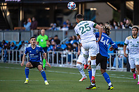 SAN JOSE, CA - MAY 15: Bill Tuiloma #25 of the Portland Timbers heads the ball during a game between San Jose Earthquakes and Portland Timbers at PayPal Park on May 15, 2021 in San Jose, California.