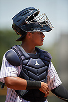 GCL Yankees West catcher Hemmanuel Rosario (21) during a game against the GCL Yankees East on August 8, 2018 at Yankee Complex in Tampa, Florida.  GCL Yankees West defeated GCL Yankees East 8-4.  (Mike Janes/Four Seam Images)