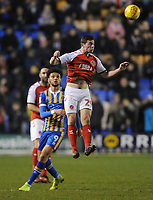 Fleetwood Town's Nathan Sheron heads the ball clear<br /> <br /> Photographer Kevin Barnes/CameraSport<br /> <br /> The EFL Sky Bet League One - Shrewsbury Town v Fleetwood Town - Tuesday 1st January 2019 - New Meadow - Shrewsbury<br /> <br /> World Copyright © 2019 CameraSport. All rights reserved. 43 Linden Ave. Countesthorpe. Leicester. England. LE8 5PG - Tel: +44 (0) 116 277 4147 - admin@camerasport.com - www.camerasport.com