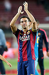FC Barcelona's Xavi Hernandez celebrates the victory in the Spanish King's Cup Final match. May 30,2015. (ALTERPHOTOS/Acero)