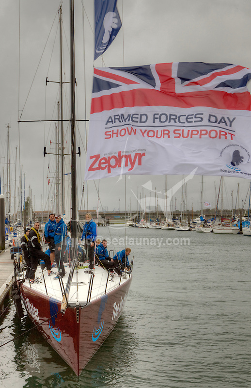 Tri-service charity Toe in the Water is entering two yachts in tomorrow's Round the Island race which also coincides with Armed Forces Day. The charity's ambassador Dee Caffari MBE who is also an Honorary Commander Royal Navy Reserves is skippering the Farr52 TOE IN THE WATER with a crew of injured and able-bodied military personnel.