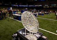 BCS National Championship trophy is pictured during BCS Media Day at Mercedes-Benz Superdome in New Orleans, Louisiana on January 6th, 2012.