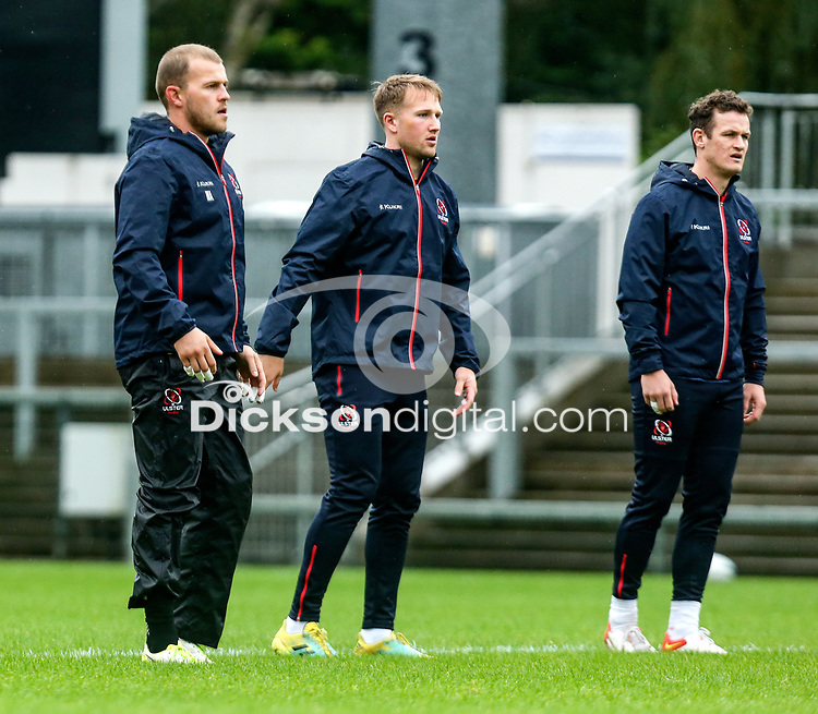 Thursday 7th October 2021<br /> <br /> Will Addison, Stewart Moore and Billy Burns during Ulster Rugby Captain's Run held at Kingspan Stadium, Ravenhill Park, Belfast, Northern Ireland. Photo by John Dickson/Dicksondigital