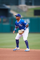Oklahoma City Dodgers second baseman Willie Calhoun (4) during a game against the Colorado Springs Sky Sox on June 2, 2017 at Chickasaw Bricktown Ballpark in Oklahoma City, Oklahoma.  Colorado Springs defeated Oklahoma City 1-0 in ten innings.  (Mike Janes/Four Seam Images)