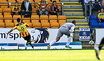 St Johnstone v Partick Thistle...28.09.13      SPFL<br /> Kris Doolan scores to make it 1-0 to Partick<br /> Picture by Graeme Hart.<br /> Copyright Perthshire Picture Agency<br /> Tel: 01738 623350  Mobile: 07990 594431