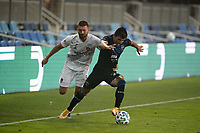 SAN JOSE, CA - SEPTEMBER 13: Nick Lima #24 of the San Jose Earthquakes is defended by Perry Kitchen #2 of the Los Angeles Galaxy during a game between Los Angeles Galaxy and San Jose Earthquakes at Earthquakes Stadium on September 13, 2020 in San Jose, California.