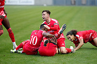 8th November 2020; SkyEx Community Stadium, London, England; Football Association Cup, Hayes and Yeading United versus Carlisle United; Amos Nasha of Hayes & Yeading United celebrates with his team mates after scoring his sides 2nd goal in the 108th minute to make it 2-0