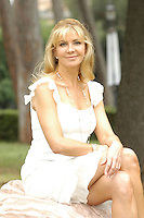 "NATASHA RICHARDSON.Photocall for ""Asylum"", Rome, Italy..June 6th, 2007.half length white dress sitting .CAP/CAV.©Luca Cavallari/Capital Pictures"